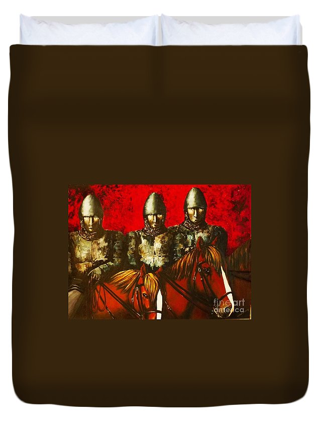 Knights Duvet Cover featuring the painting Three Knights by Kaye Miller-Dewing