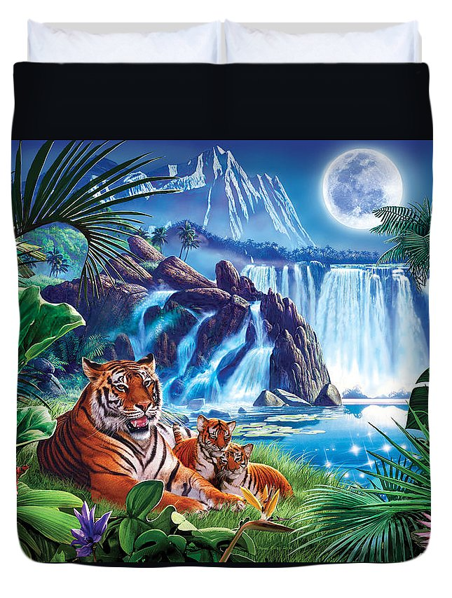 Animals Duvet Cover featuring the photograph Tiger Moon by Steve Crisp