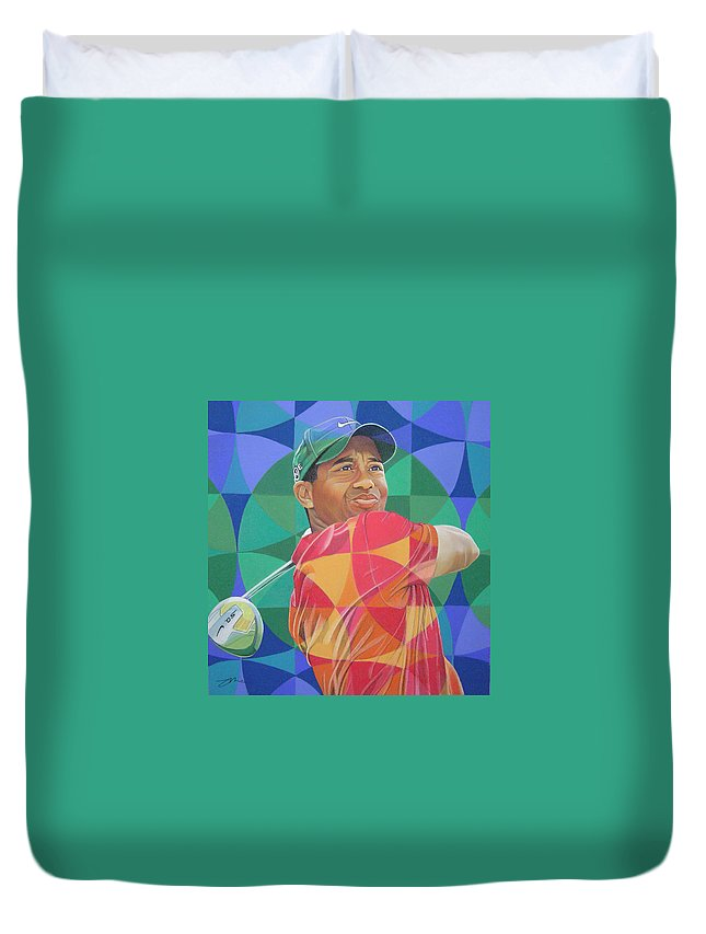 Tiger Woods Duvet Cover featuring the drawing Tiger Woods by Joshua Morton
