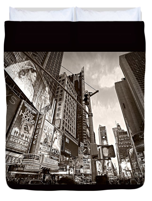 Chrysler Duvet Cover featuring the photograph Times Square - New York City by Luciano Mortula