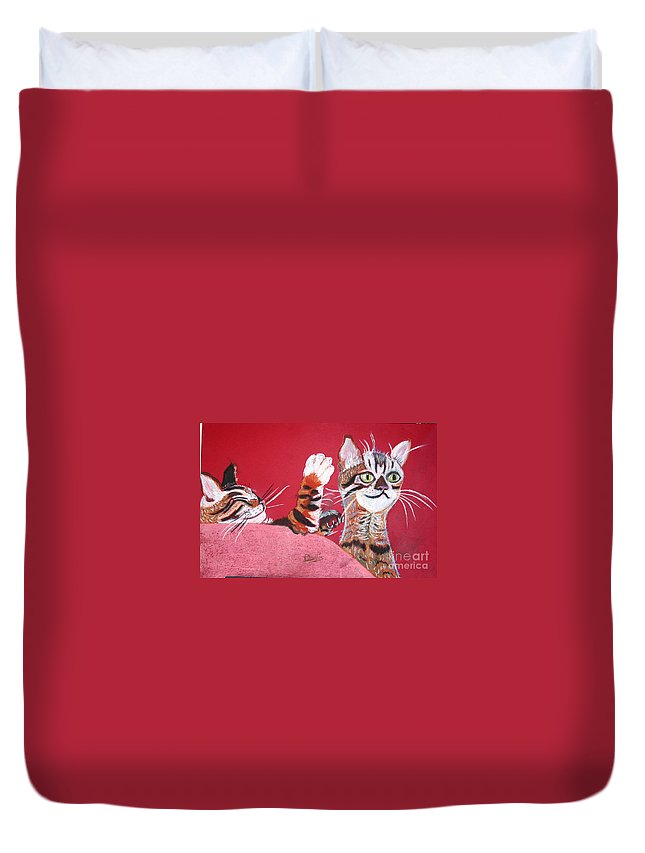 2 Bengal Cats. Red Background Duvet Cover featuring the pastel 2 Tora's by Phyllis Kaltenbach