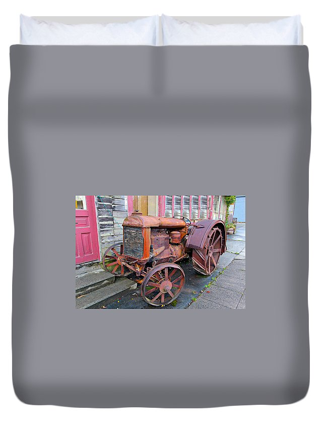Abandoned Duvet Cover featuring the photograph Tractor by Paul Fell