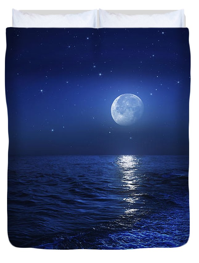No People Duvet Cover featuring the photograph Tranquil Ocean At Night Against Starry by Evgeny Kuklev