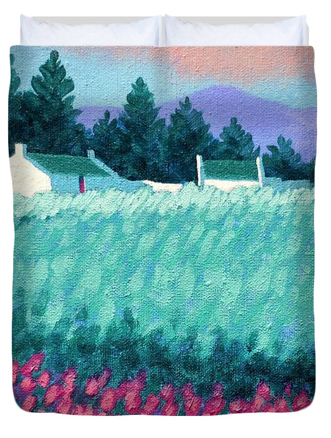 Acrylic Duvet Cover featuring the painting Turquoise Meadow by John Nolan