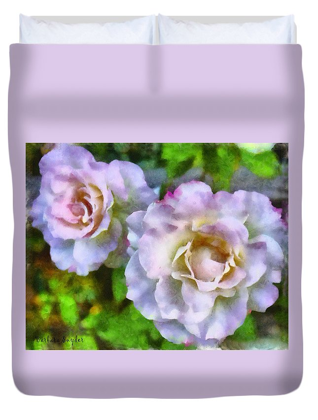 Two Pink Roses Duvet Cover featuring the digital art Two White Roses by Barbara Snyder