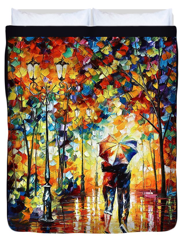Couple Duvet Cover featuring the painting Under one umbrella by Leonid Afremov
