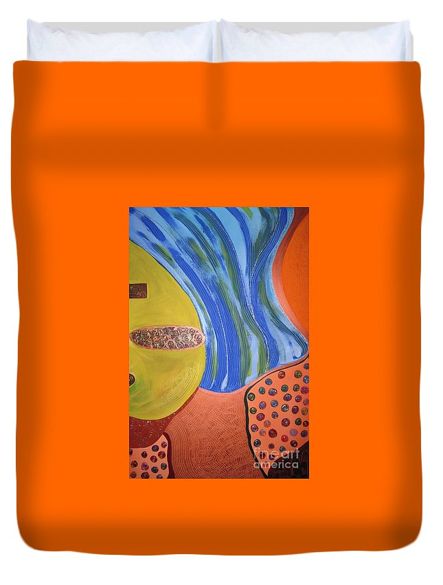 Abstract Duvet Cover featuring the painting Underground by Zoe Vega Questell