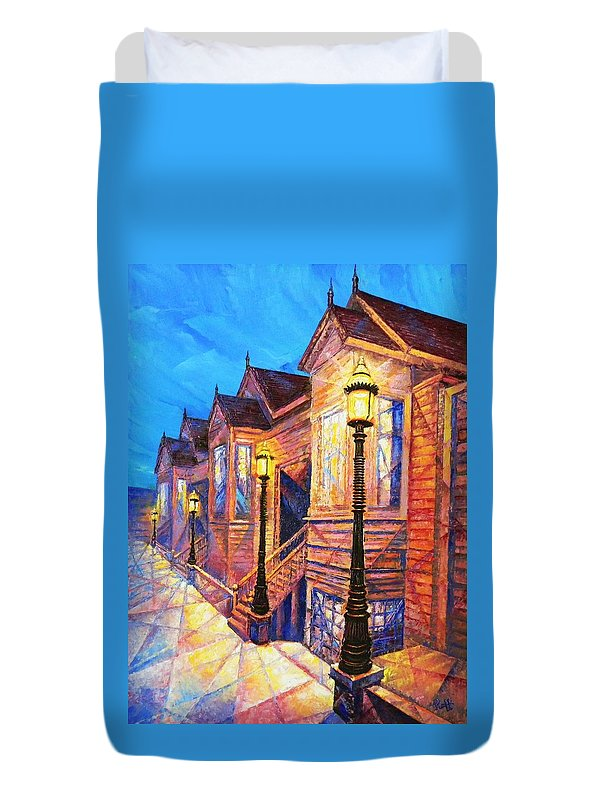 San Francisco Street Duvet Cover featuring the painting Union Street by Raffi Jacobian
