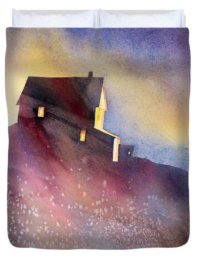 Architecture Duvet Cover featuring the painting Up There by Mohamed Hirji