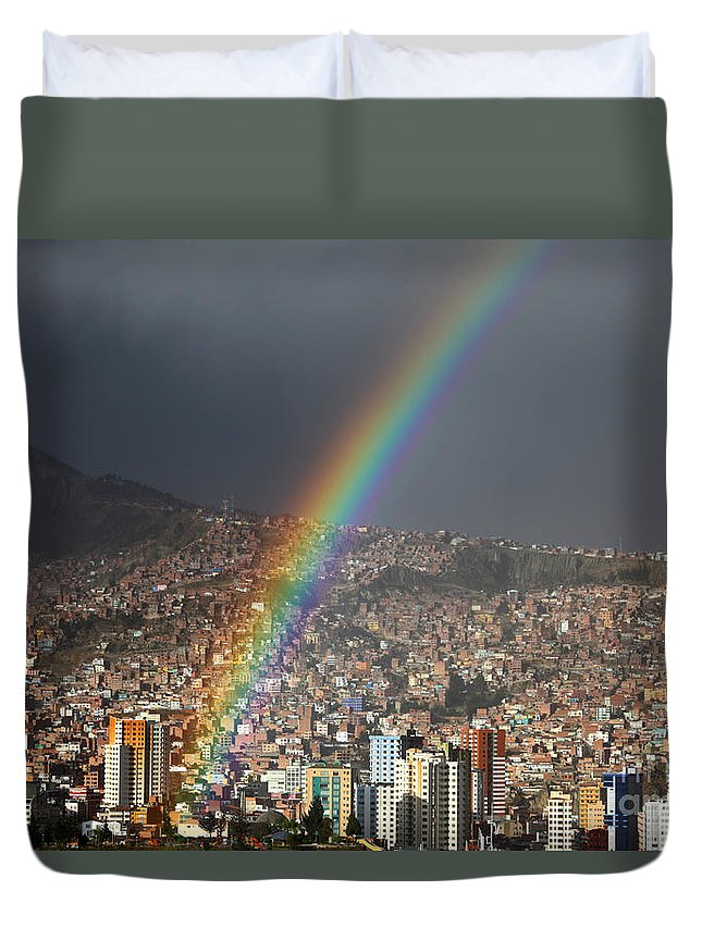 Bolivia Duvet Cover featuring the photograph Urban Rainbow La Paz Bolivia by James Brunker