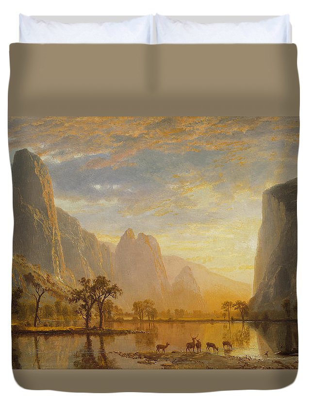 Albert Bierstadt Duvet Cover featuring the painting Valley Of The Yosemite by Albert Bierstadt