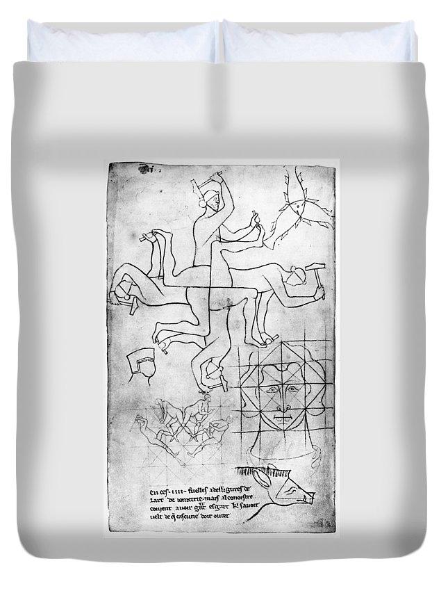 13th Century Duvet Cover featuring the drawing Villard De Honnecourt (c1225-c1250) by Granger