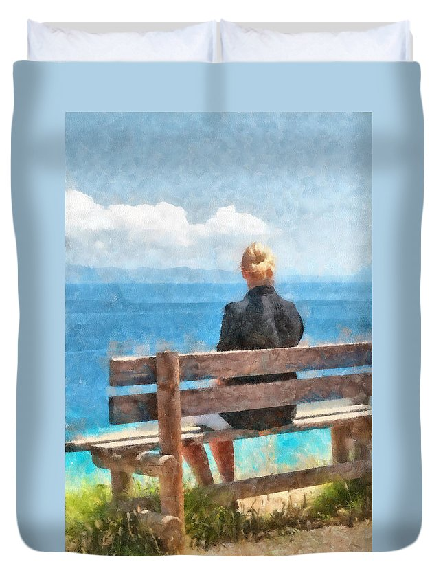 Adult Duvet Cover featuring the digital art Sitting Alone by Roy Pedersen