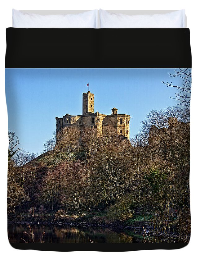 Warkworth Duvet Cover featuring the photograph Warkworth Castle by David Pringle