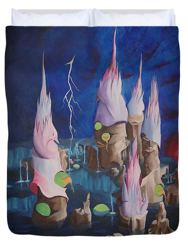 Surrealism Duvet Cover featuring the painting Water World by Richard Dotson