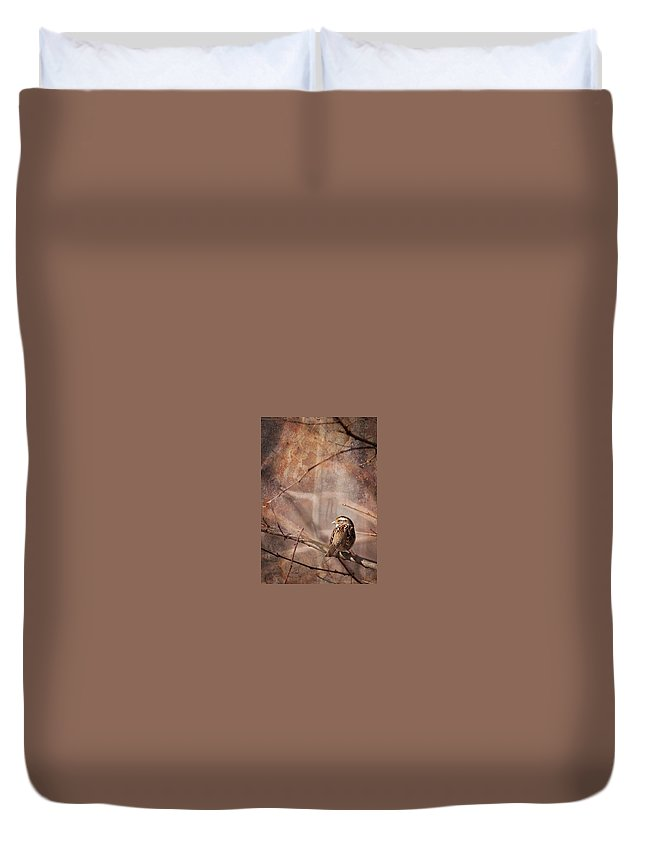 White-throated Sparrow Duvet Cover featuring the photograph White-throated Sparrow by Melinda Fawver