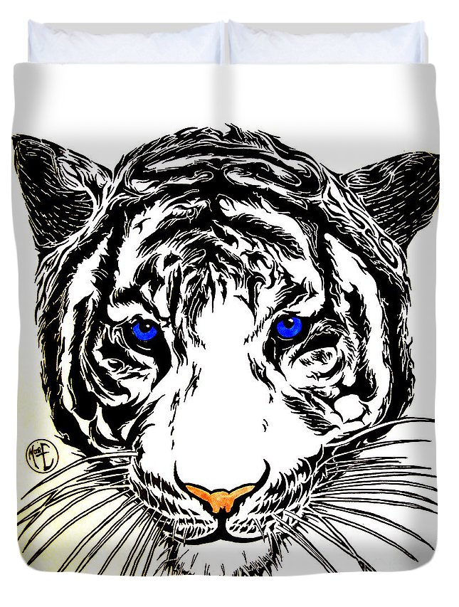 Justin Moore Duvet Cover featuring the drawing White Tiger by Justin Moore