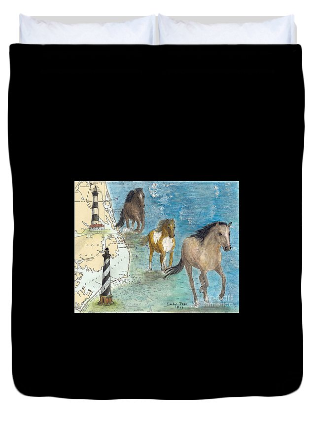 Wild Duvet Cover featuring the painting Wild Mustang Horses Outer Banks Lighthouses Nautical Chart Map Art by Cathy Peek