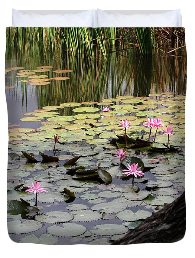 Landscape Duvet Cover featuring the photograph Wild Water Lilies In The River by Sabrina L Ryan