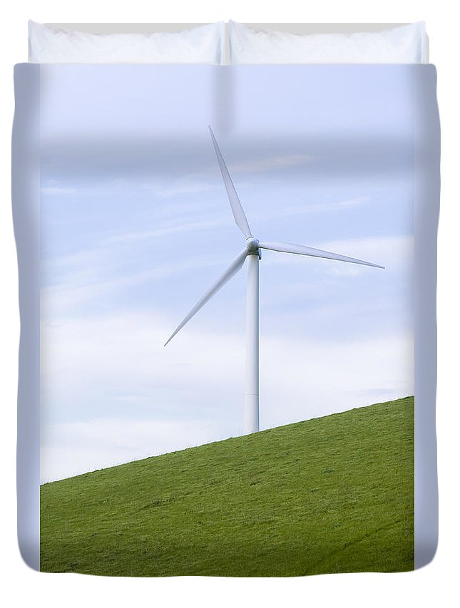 Usa Duvet Cover featuring the photograph Wind Trubine On Grassy Hill by B Christopher