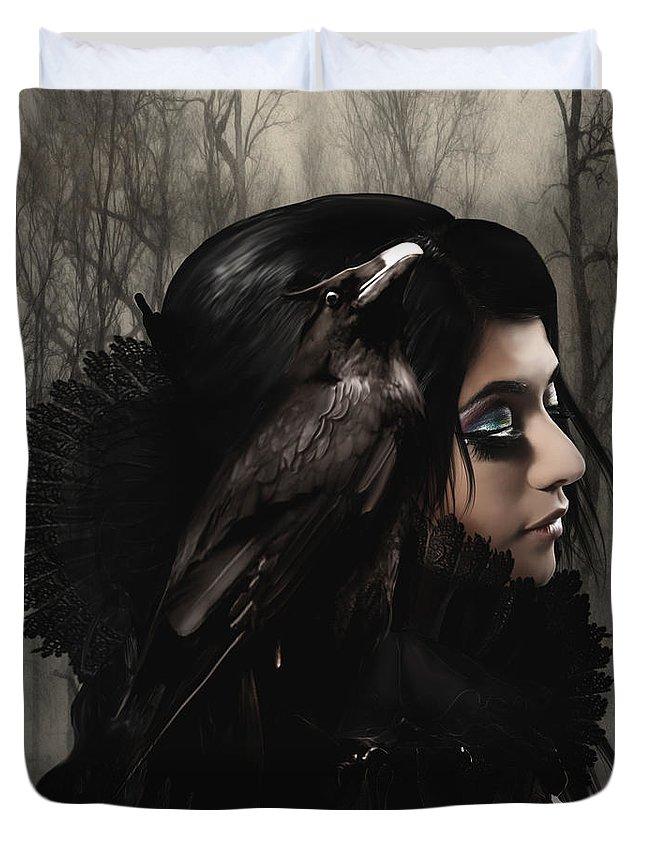 Photomanipulation Fantasy Dark Duvet Cover featuring the digital art Wisdom by Babette Van den Berg