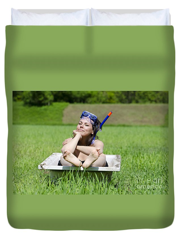 Woman Duvet Cover featuring the photograph Woman Lying In A Bathtub by Mats Silvan
