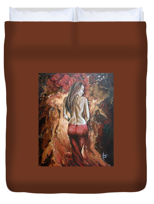 Woman Duvet Cover featuring the painting Woman's Portrait by Karina Llergo