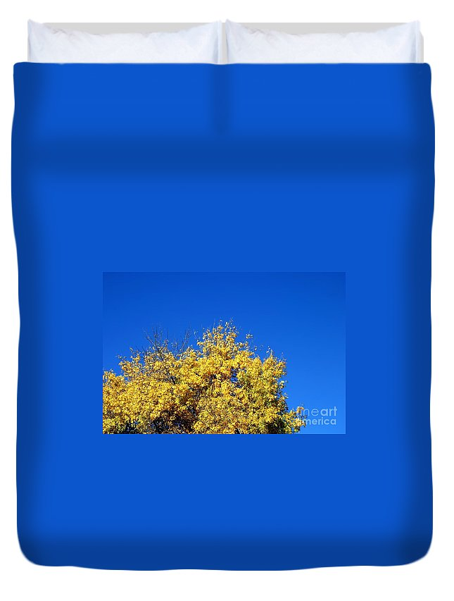 Tree Duvet Cover featuring the photograph Yellow Autumn Tree by Henrik Lehnerer