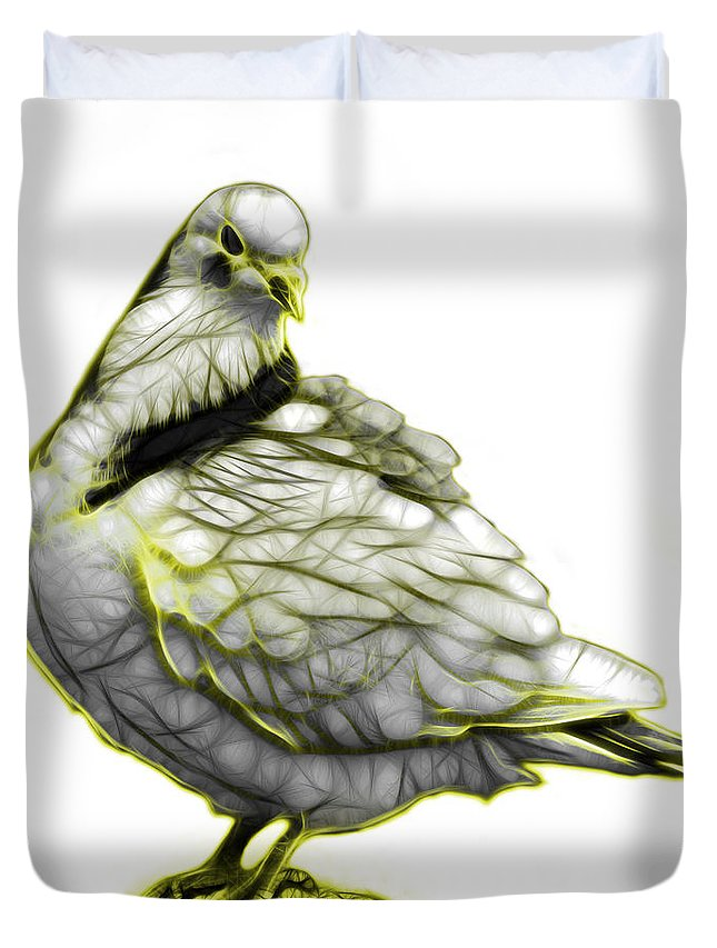 Pigeon Art Duvet Cover featuring the digital art Yellow Pigeon Pop Art 5516 - Fs - Bb - Modern Animal Artist Jam by James Ahn