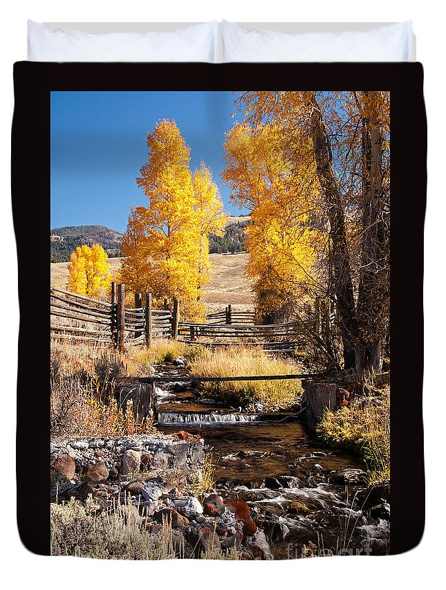 Autumn Duvet Cover featuring the photograph Yellowstone Institute In Lamar Valley In Yellowstone National Park by Fred Stearns