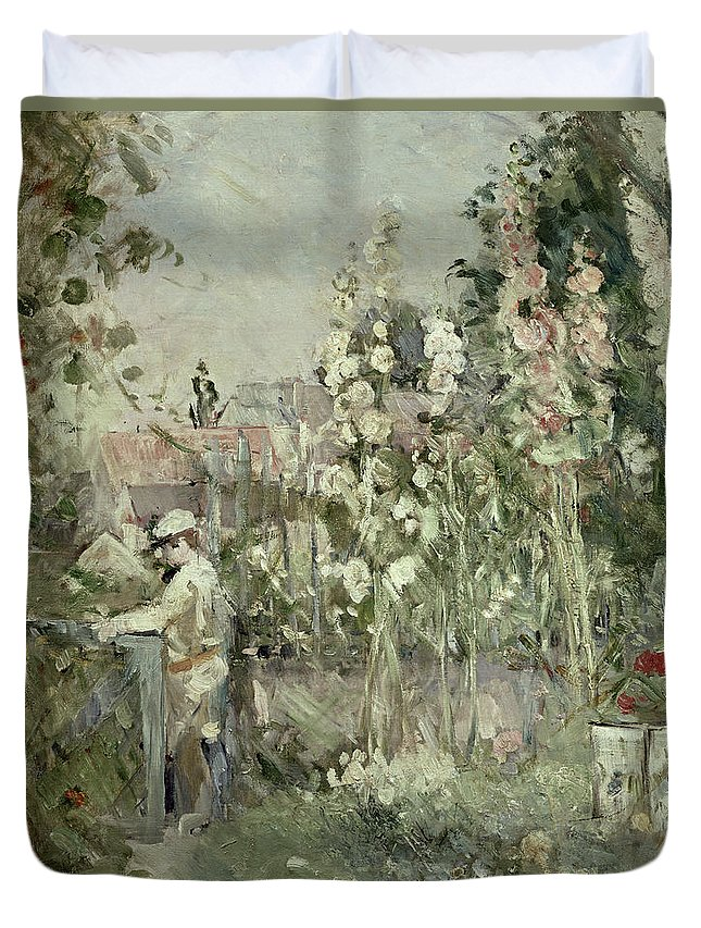 Hollyhock; Flowers; Garden; Impressionist; Gate; Summer Duvet Cover featuring the painting Young Boy In The Hollyhocks by Berthe Morisot