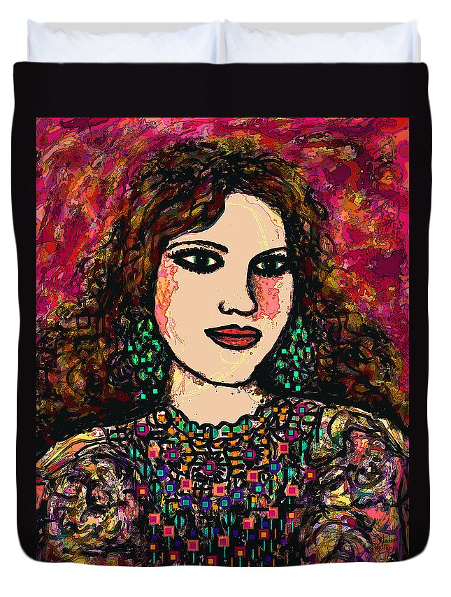Woman Duvet Cover featuring the mixed media Young Girl by Natalie Holland