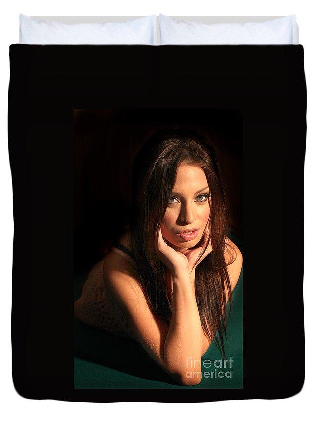 Portrait Duvet Cover featuring the photograph Young Woman by Henrik Lehnerer