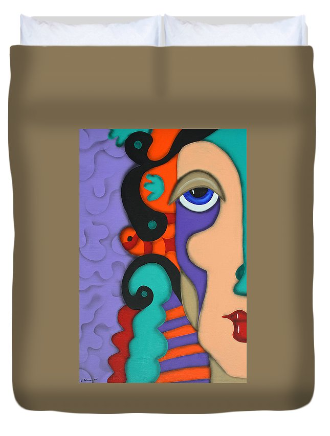 Abstract Face Duvet Cover featuring the painting Your Wildest Imagination by Catherine Harms
