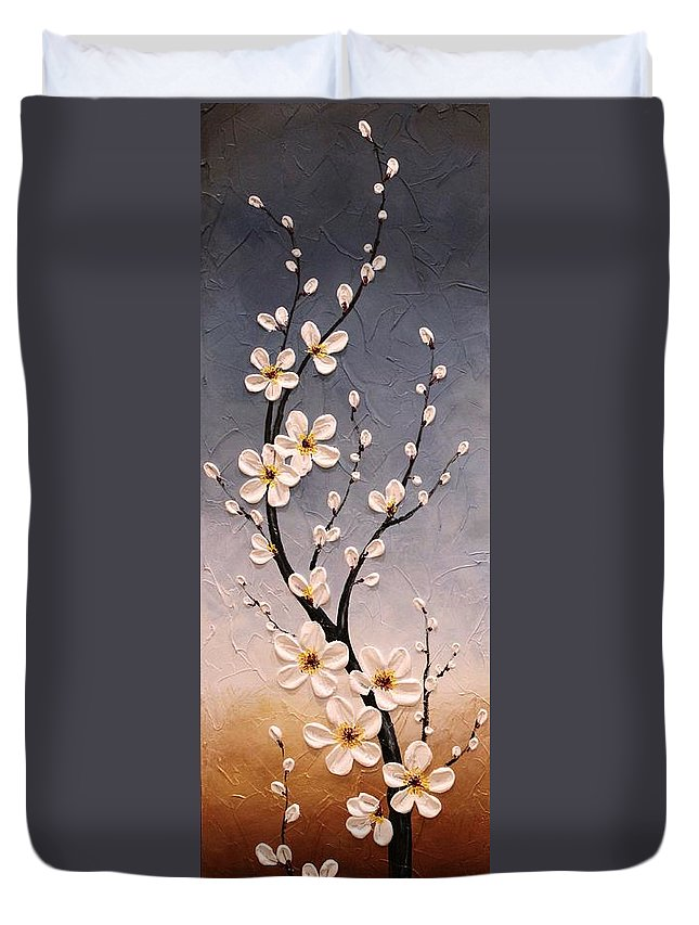 Japanese Duvet Cover featuring the painting Cherry Blossoms by Tomoko Koyama