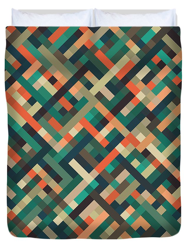 Abstract Duvet Cover featuring the digital art Pixel Art by Mike Taylor