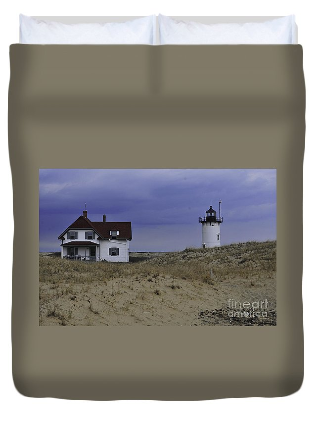 Race Point Light Duvet Cover featuring the photograph Race Point Light 1 by Catherine Reusch Daley