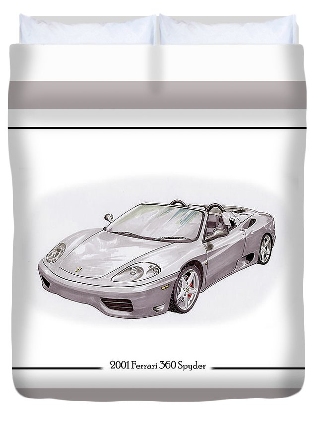 2001 Silver Ferrari Duvet Cover featuring the painting Ferrari 360 Modena Spyder by Jack Pumphrey
