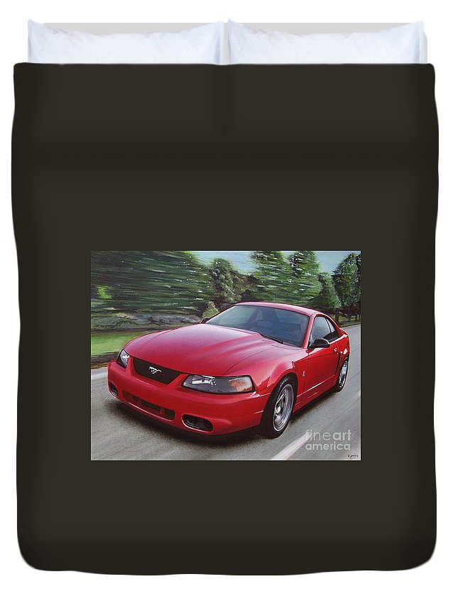 2001 Duvet Cover featuring the drawing 2001 Ford Mustang Cobra by Paul Kuras