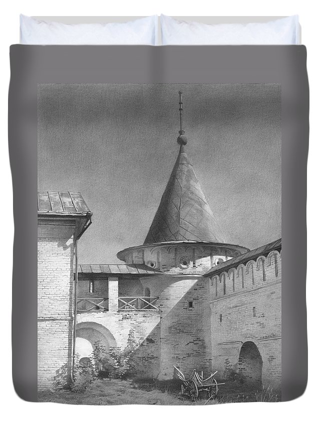 Russia Duvet Cover featuring the drawing 2001 Tower by Denis Chernov