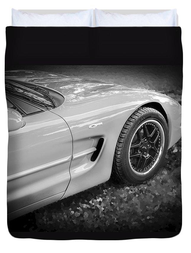 2002 Corvette Duvet Cover featuring the photograph 2002 Chevrolet Corvette Z06 Bw by Rich Franco