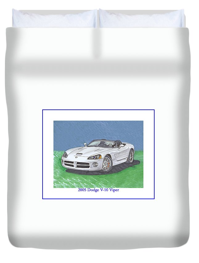 2005 Dodge Viper. Images Of 2005 Dodge Vipers. Duvet Cover featuring the painting 2005 Dodge V-10 Viper by Jack Pumphrey