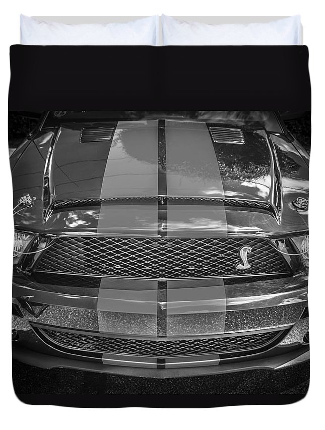 2007 Mustang Duvet Cover featuring the photograph 2007 Ford Shelby Gt 500 Mustang Bw by Rich Franco