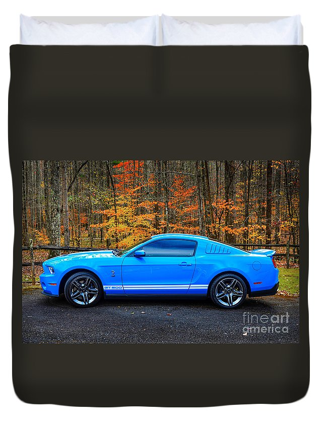 Mustang Duvet Cover featuring the photograph 2010 Shelby Gt500 by Paul Mashburn