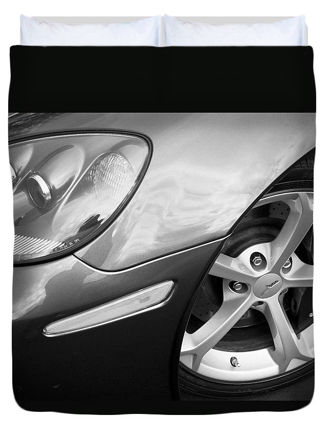 2012 Corvette Duvet Cover featuring the photograph 2012 Corvette Grand Sport Bw by Rich Franco