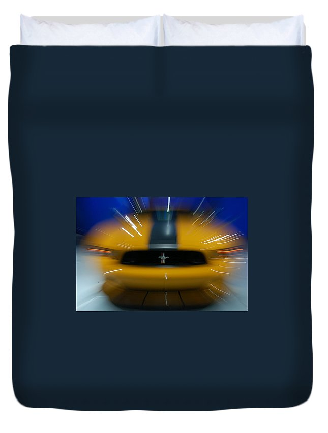 Yellow Stallion Duvet Cover featuring the photograph 2013 Ford Mustang by Randy J Heath