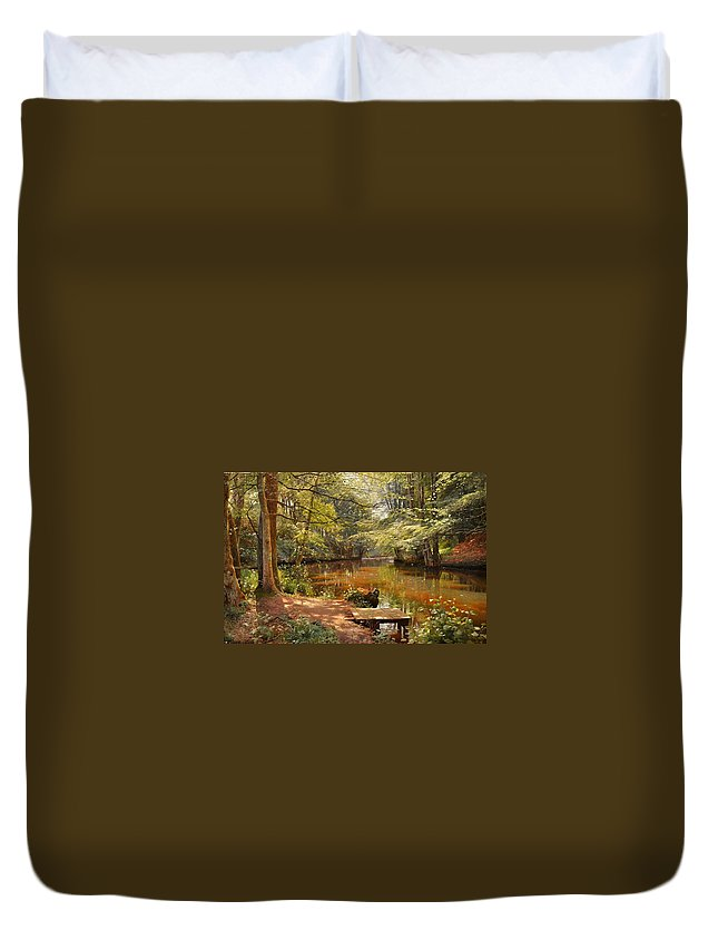 1000-1500 Duvet Cover featuring the painting Glimpses Of The Sunby Stream by MotionAge Designs