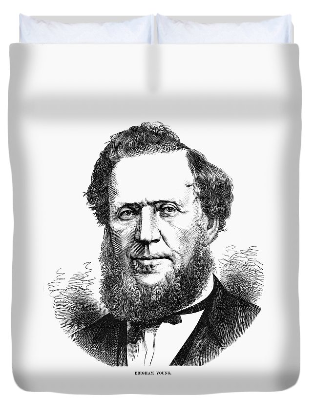 1872 Duvet Cover featuring the painting Brigham Young (1801-1877) by Granger