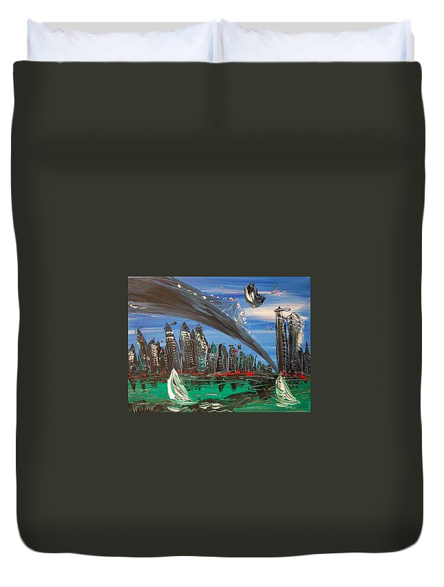 Duvet Cover featuring the painting nyc by Mark Kazav