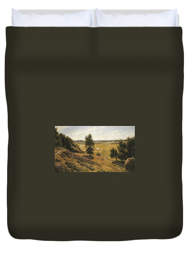 Peder Mork Monsted Duvet Cover featuring the painting A Tranquil Forest Lake by MotionAge Designs